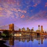 Brooklyn Bridge sunset New York Manhattan Stock Photography