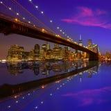 Brooklyn Bridge sunset New York Manhattan Royalty Free Stock Image