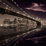 Brooklyn Bridge sunset New York Manhattan Stock Image
