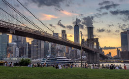 Brooklyn Bridge at sunset Royalty Free Stock Photo