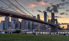 Brooklyn Bridge at sunset Royalty Free Stock Images