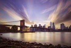 Brooklyn bridge sunset Stock Images