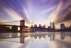 Brooklyn bridge sunset Stock Photos