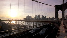 Brooklyn Bridge at sunset stock video footage