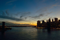 Brooklyn Bridge at sunset. View of Lower Manhattan with Brooklyn Bridge at sunset Stock Photography