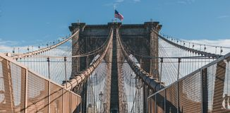 Symmetry at Brooklyn Bridge, New York stock image