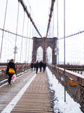 Brooklyn Bridge tourists , New York Royalty Free Stock Images