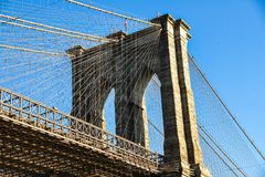 Brooklyn Bridge Tower and blue sky New York USA royalty free stock photos