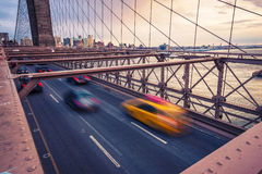 Brooklyn bridge. Traffic on Brooklyn Bridge in New York stock photography