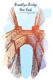 Brooklyn Bridge travel sketchbook painted sketch Royalty Free Stock Photography