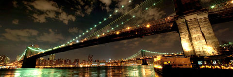 Brooklyn Bridge in twilight Stock Photo