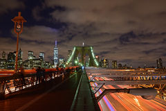 Brooklyn Bridge at Twilight with dramatic cloud royalty free stock images