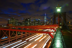 Brooklyn Bridge at Twilight with dramatic cloud Royalty Free Stock Photos