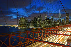Brooklyn Bridge at Twilight with Lower Manhattan in the background Royalty Free Stock Images