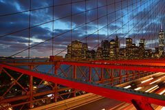 Brooklyn Bridge at Twilight with Lower Manhattan in the background Stock Image