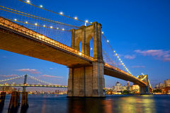 Brooklyn Bridge. At twilight in New York City Stock Images