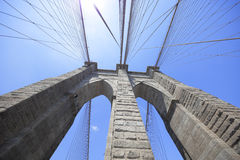 Brooklyn Bridge ultra wide angle image Stock Images