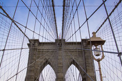 Brooklyn bridge under a clear blue sky. A look through the wires of the Brooklyn bridge Stock Image