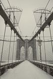 Brooklyn bridge under heavy snow Stock Image