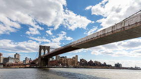 The Brooklyn Bridge. Underneath the Brooklyn Bridge in New York City Stock Photography