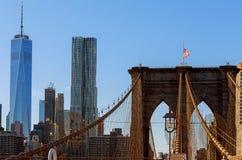 The Brooklyn Bridge in the United States. The Brooklyn bridge in New York City. in the United States. sky, skyscraper, states, stone Stock Photo