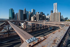Brooklyn Bridge view of Lower Manhattan Royalty Free Stock Photography