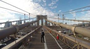 Brooklyn Bridge. A view from the walkway of the Brooklyn Bridge Stock Photos