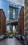 Brooklyn Bridge view from Washington St. Stock Photo