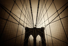 Brooklyn Bridge - Vintage. Brooklyn Bridge Cables and Flag- New York City, NY, USA royalty free stock image
