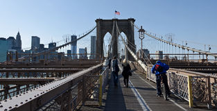 Brooklyn Bridge walkway. And Manhattan skyline Royalty Free Stock Photos