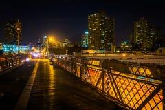 The Brooklyn Bridge Walkway at night, New York. Stock Image
