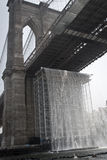 Brooklyn Bridge with waterfalls Royalty Free Stock Images
