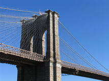 Brooklyn Bridge Western Tower and Sunlit Cables Royalty Free Stock Images