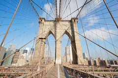 Brooklyn Bridge wide angle in the morning, New York Stock Images
