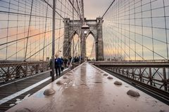 Brooklyn Bridge wide angle shot. A nice wide shutoff the famous bridge with good depth of field royalty free stock image