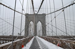 Brooklyn Bridge in the winter, NYC Stock Photo
