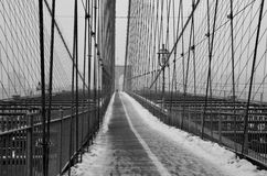 Brooklyn Bridge in the winter, NYC Stock Images