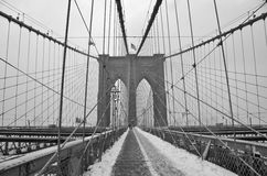 Brooklyn Bridge in the winter, NYC Royalty Free Stock Photos