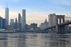 Brooklyn Bridge in the winter, NYC Royalty Free Stock Image
