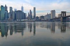 Brooklyn Bridge in the winter, NYC Stock Photos