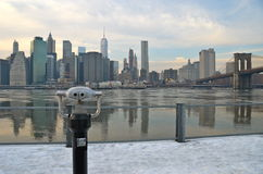 Brooklyn Bridge in the winter, NYC Royalty Free Stock Photo