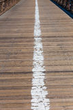 Brooklyn bridge wooden soil pavement detail NY Royalty Free Stock Images
