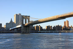 Brooklyn bridge. The Brooklyn bridge wuith  the sunset light Royalty Free Stock Photo