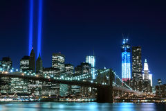 Brooklyn Brigde and the Towers of Lights Royalty Free Stock Photography