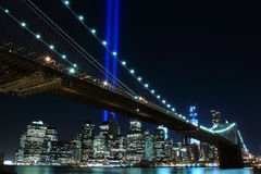 Brooklyn Brigde and the Towers of Lights Royalty Free Stock Photos