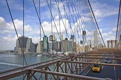 Brooklyn bro, flyg- sikt, New York Royaltyfri Foto