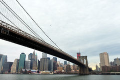 Brooklyn bro i Manhattan New York Royaltyfria Bilder