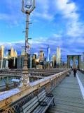 Brooklyn bro i morgonen royaltyfria bilder