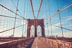 Brooklyn bro i New York City, NY, USA Arkivbild