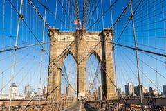 Brooklyn bro i sommar, New York City Arkivbild